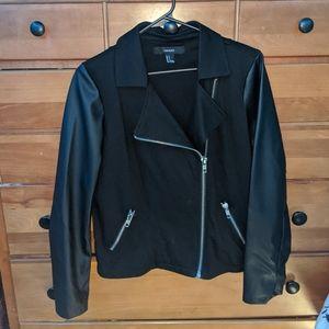 Forever 21 Leather Sleeve Biker Jacket